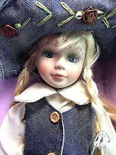 """Isabella 16"""" Porcelain Doll Denim Flowered Dress & Hat + Display Stand Blue Eyes"""