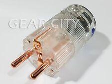 ppc3e Copper EU Schuko 16A Mains Power Plug Male OFC Connector Cable Clear HiFi