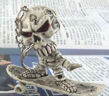 FD665 Skateboard Skull Gothic Creative Purse Bag Rubber KeyChain Keyring Gift