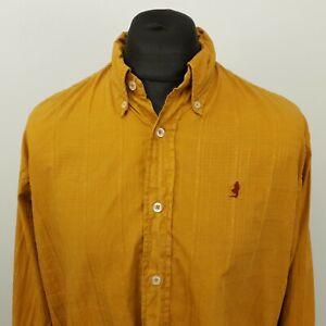 Marlboro Classics Mens Vintage Shirt LARGE Mustard Regular Plaid Cotton