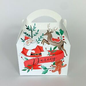Santa Father Christmas Personalised Treat Box Gift Favour Party Bag Advent Box