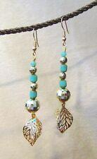 Beaded Leaf Earrings, Dangle, Handcrafted, Czech Beads, Tribal, Ethnic, item #7