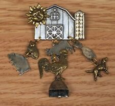 Vintage Style Metal Barn with Dangle Farm Animals & Cow Bell Collectible Pin!