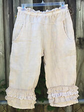 SHABBY MAGNOLIA eyelet PANTS pearl color bloomers FLAX LINEN Gypsy Natural XS/ S