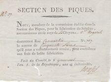 REVOLUTION SECTION DES PIQUES 1794