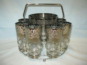 Silver Fade MCM Ice Bucket & 8 Tumblers Vitreon Queens Lusterware Ombre Emboss