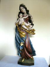 Mutter Gottes Madonna Maria mit Kind 82,5 cm groß, Holz geschnitzt und bemalt