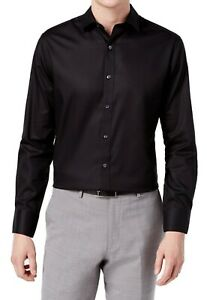 Bar III Mens Dress Shirt Black Size XL 17-17 1/12 Slim Fit Stretch $65 253