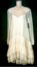 Chloe Dress pinky Nude Silk Layered Long Sleeve Size 36 NWT Size 2 Slip