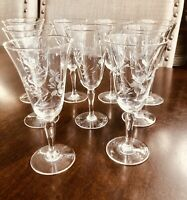 "5"" Etched Crystal Stemware Cordial Aperitif Glasses - Set of 9"