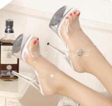 Women's Platform Transparent Clear High Heel Stilettos Platform Sandals Shoes