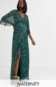 Maya Deluxe Maternity Bridesmaid Delicate Sequin Wrap Maxi size UK 8 (US4) green