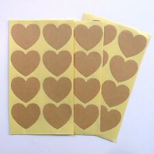 48x Kraft Heart Shaped Stickers 35mm wide x 32mm high