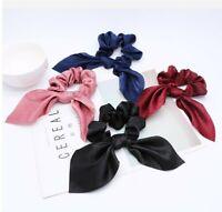 Ribbon Elastic Rope Solid Satin Scrunchie Headband Scarf Lady Hair Ties Band Bow