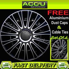 "13"" Black Silver Multi Spoke Car Wheel Trims Hub Covers"
