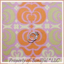 BonEful Fabric FQ Cotton Amy Butler Pink Orange Green Flower Damask Large Hippie