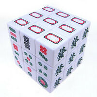 Rare White 3x3 3x3x3 Mahjong Magic Cube Twist Puzzle Printed Color Stickerless