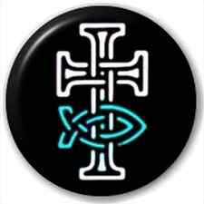 Small 25mm Lapel Pin Button Badge Novelty Celtic Cross And Ichthus