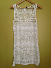 NEW! Ralph Lauren Blue Label White Loose Knit Sexy Swim Cover Up Dress M $120