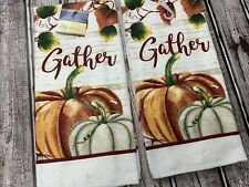 Thanksgiving Set of 2 Kitchen Towels Pumpkin Autumn Fall Leaves Gather