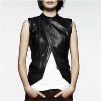 G-STAR WOMEN RAW Black Lambskin Leather Aviator Gilet Vest Cafe Racer allsaints