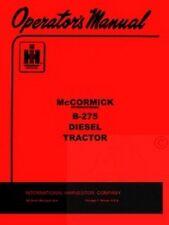 INTERNATIONAL McCormick B-275 Diesel Operators Manual