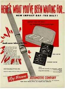 1952 Impact Auto SAF-TEE BELT Seat Belt Ray Brown Automotive Vintage Print Ad