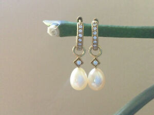 Jude Frances Diamond Huggie Earrings, Pearl & Diamond Charms