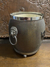 More details for vintage mid century silver plated ice bucket - mesh with lion mask handles mcm
