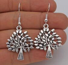 "925 Silver Plated Hook - 1.8"" Vintage Hollow Tree Style Women Party Earrings #61"