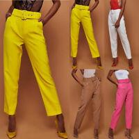 Women's Solid High Waist OL Cigarette Pants Ladies Tie Belt Paper Bag Trousers