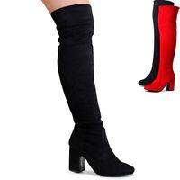 Damenschuhe Overknee Stiefel Velours Krempelschaft Stretch Boots Blockabsatz