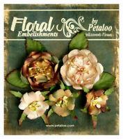 Canterbury Naturals BEIGE BROWN - 5 Mixed Paper Roses 2.5 - 4cm Petaloo LB/P