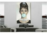 Audrey Hepburn Gum Canvas Print Breakfast at Tiffany's Wall Colored Art Canvas