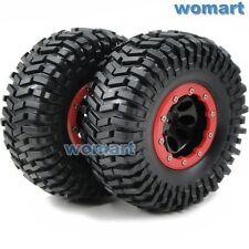 2pcs RC 2.2 Tires 125m & 2.2 Beadlock Wheels Rims Fit 1/10 RC 4WD Axial Crawler
