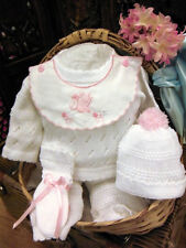 NWT Will'beth White Pink Knit 4p Pant Set Newborn Girls Hat Booties Boutique