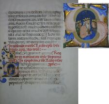 ILLUMINATED MANUSCRIPT BIBLE LEAF CIRCA 1450 Isaiah 60, Magi Historiated Initial