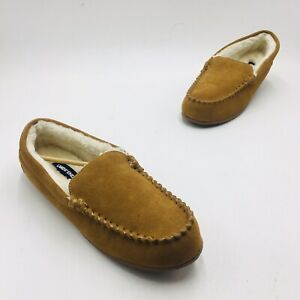Lands' End Women's Suede Moccasin Slippers - English Tan