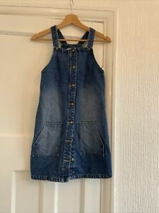M&S Denim Button Up Pinafore Dungaree Dress Girls Age 11-12 Years