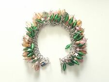Green & PINK Handcrafted VINTAGE Bead CHARM Bracelet-CHA CHA Style-SILVER Charm