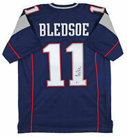 Drew Bledsoe Authentic Signed Navy Blue Pro Style Jersey Autographed BAS
