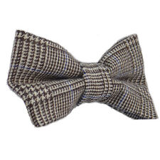 New Luxury Mens Dogtooth Black White Woven Bow Tie Solid Knitted Flecked Wool