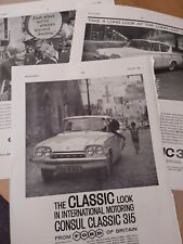 3 x Vintage Adverts 1960s Ford Consul Classic 315 Birthday Gift FREE UK P&P