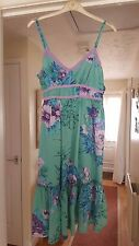 Super Papaya Green Multi Floral Strappy Dress, 100% Cotton, Size 8, VGC