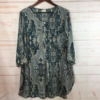 Fig and Flower Womens 2X 3/4 Sleeve Green Cream Semi Sheer Tunic Blouse NEW!