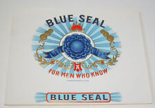 Lot 2 Lg Blue Seal Cigar Box Label Unused NOS New 1930-40s Tobacco Embossed Sqar