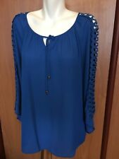 Zac and Rachel Women Blouse XL Lapis Blue Cut Out Long Wide Sleeve New NWT