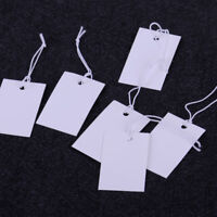 100pcs Blank White Price Tags w/ Elastic String Strung Merchandise Paper Labels