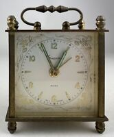 Sheffield Alarm Clock Vintage made in Germany Square shape with handle on top
