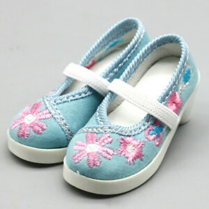 1/3 BJD Shoes Archaic Embroidered Shoes Cloth Shoes for SD Dollfie Doll AOD Cyan